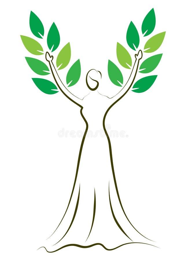 Árvore da menina da forma ilustração royalty free