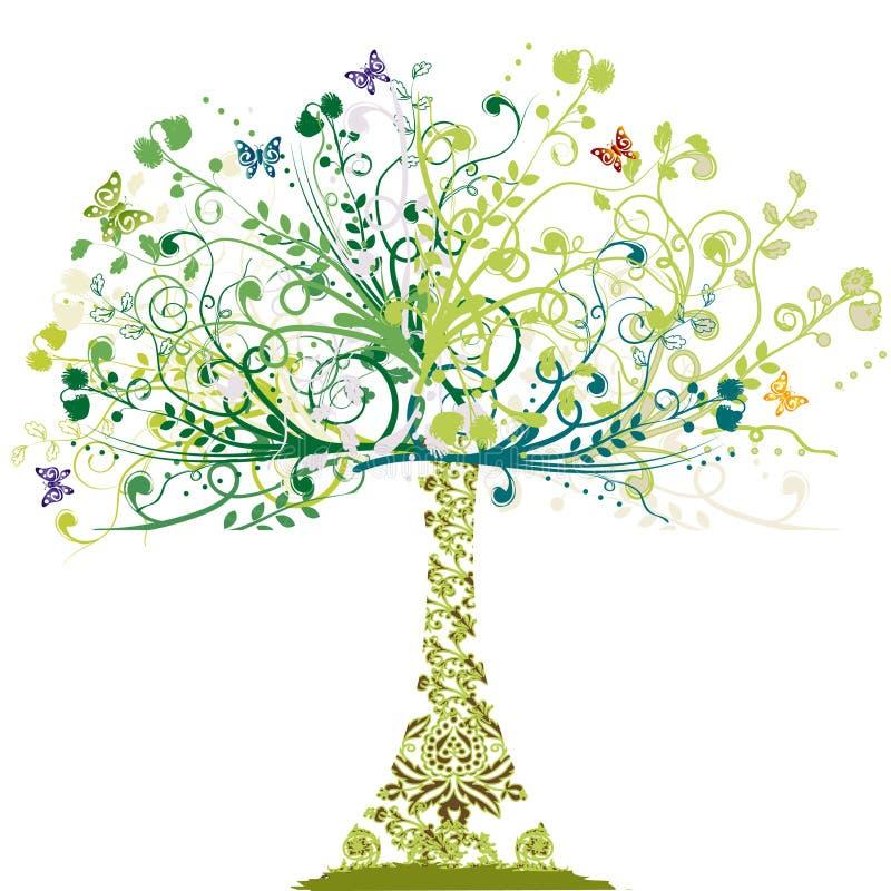 Árvore da mola - ornamento floral ilustração do vetor