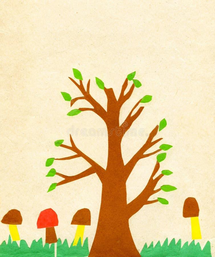 Árvore da pintura da aplicação das crianças ilustração stock