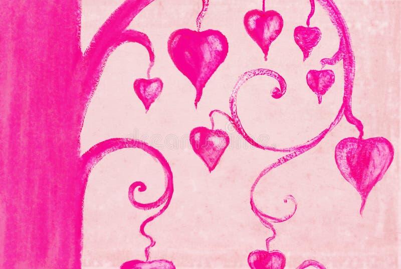 Árvore da pintura do coração no papel ilustração stock