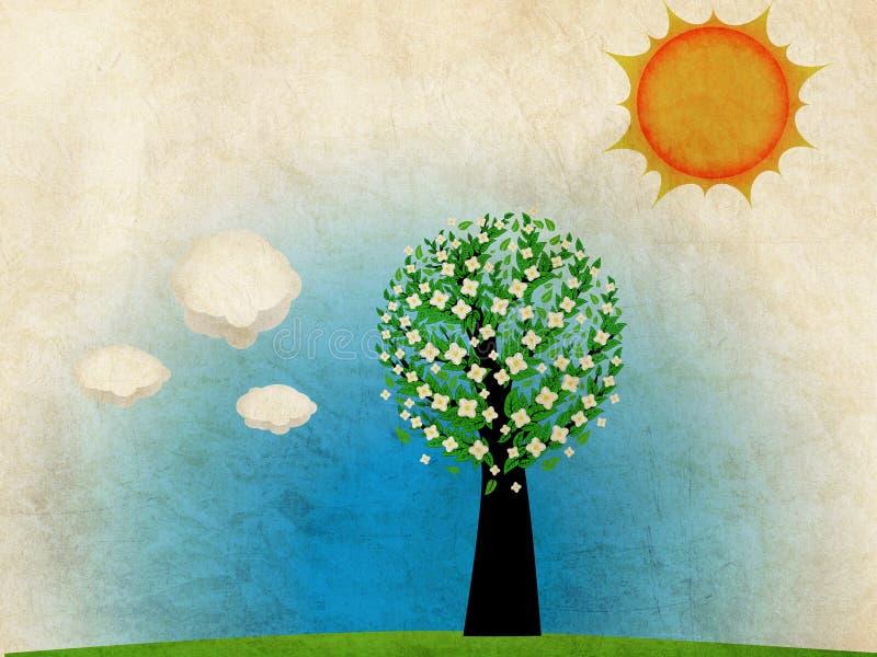 Árvore da primavera do Grunge ilustração do vetor