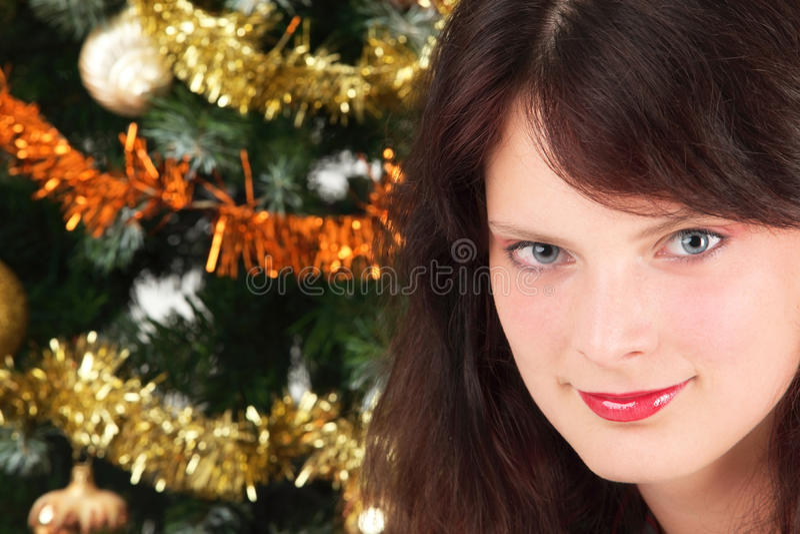 Árvore da rapariga e de Natal imagem de stock royalty free