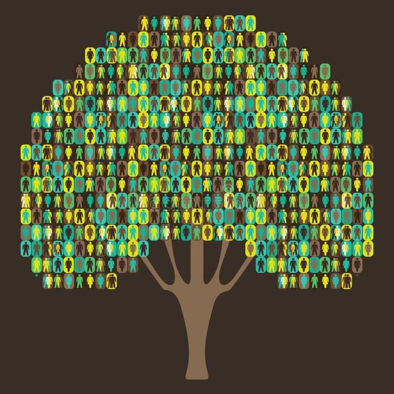 Árvore da Sociologia - pictograma dos povos ilustração do vetor