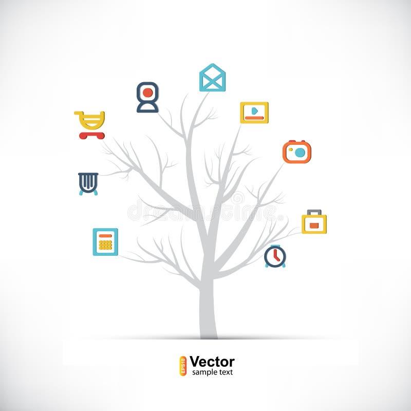 Árvore da tecnologia, negócio e trajetos de ramificação ilustração royalty free