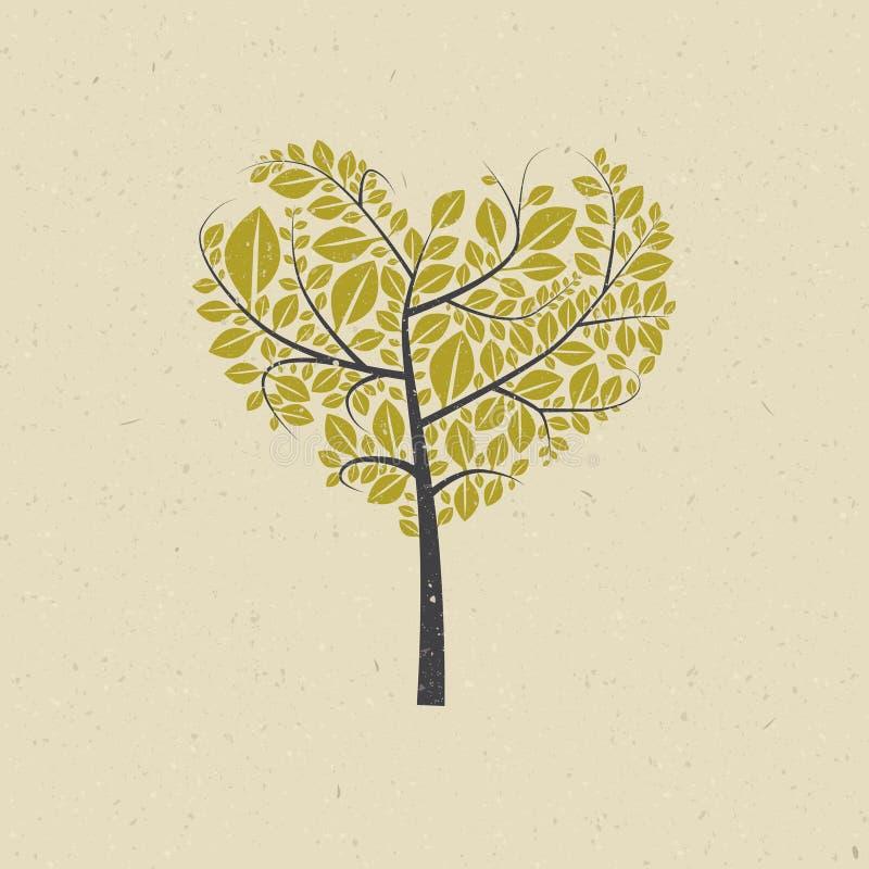 Árvore dada forma coração no papel reciclado