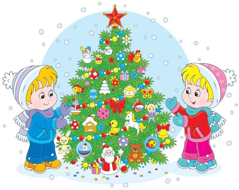 Árvore das crianças e de Natal ilustração royalty free