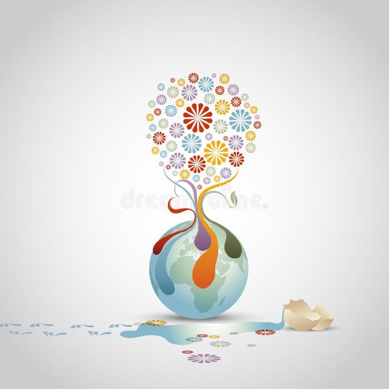 Árvore das flores - conceito da vida ilustração do vetor