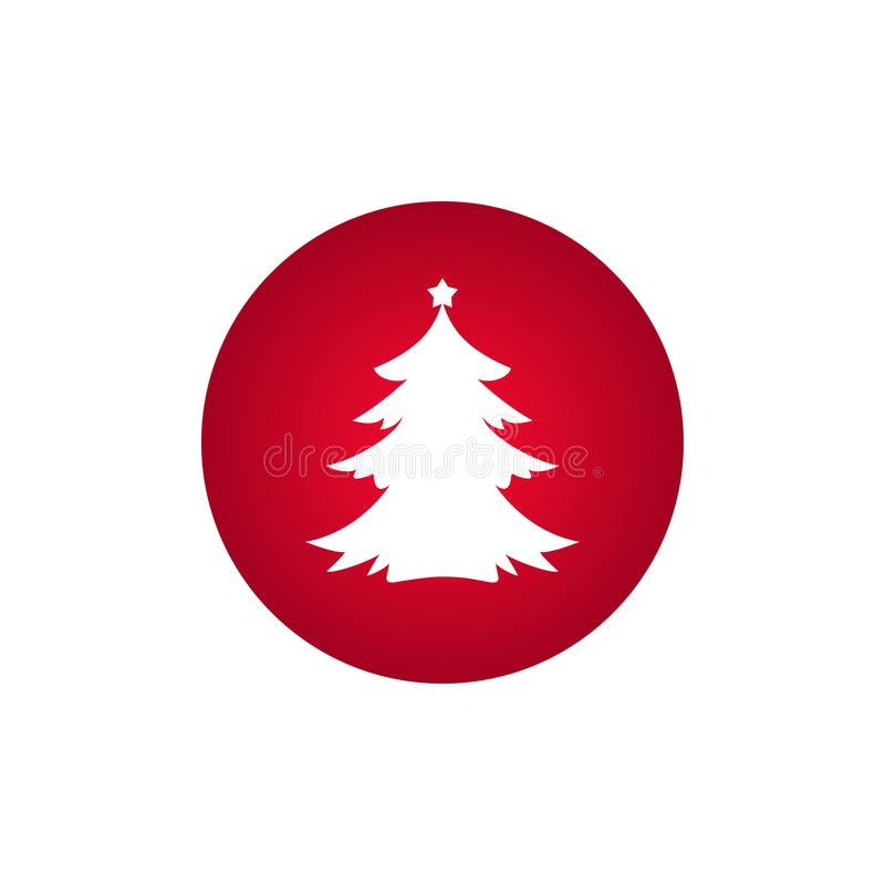 A árvore de abeto branco do Natal com protagoniza no círculo vermelho Sinal Spruce isolado no fundo branco ilustração do vetor