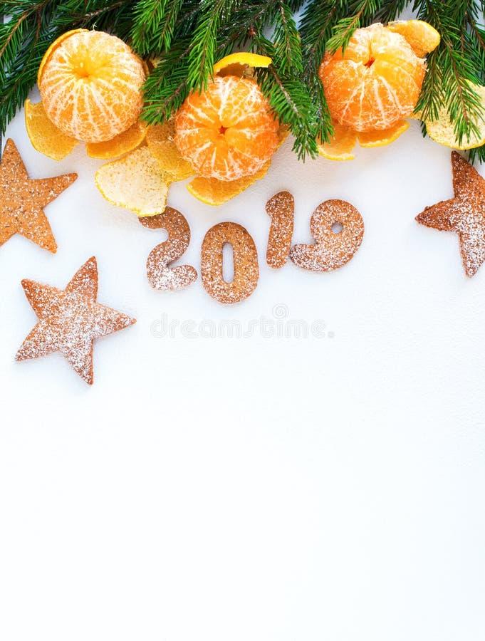 Árvore de abeto das tangerinas da composição do ano novo do Natal imagem de stock