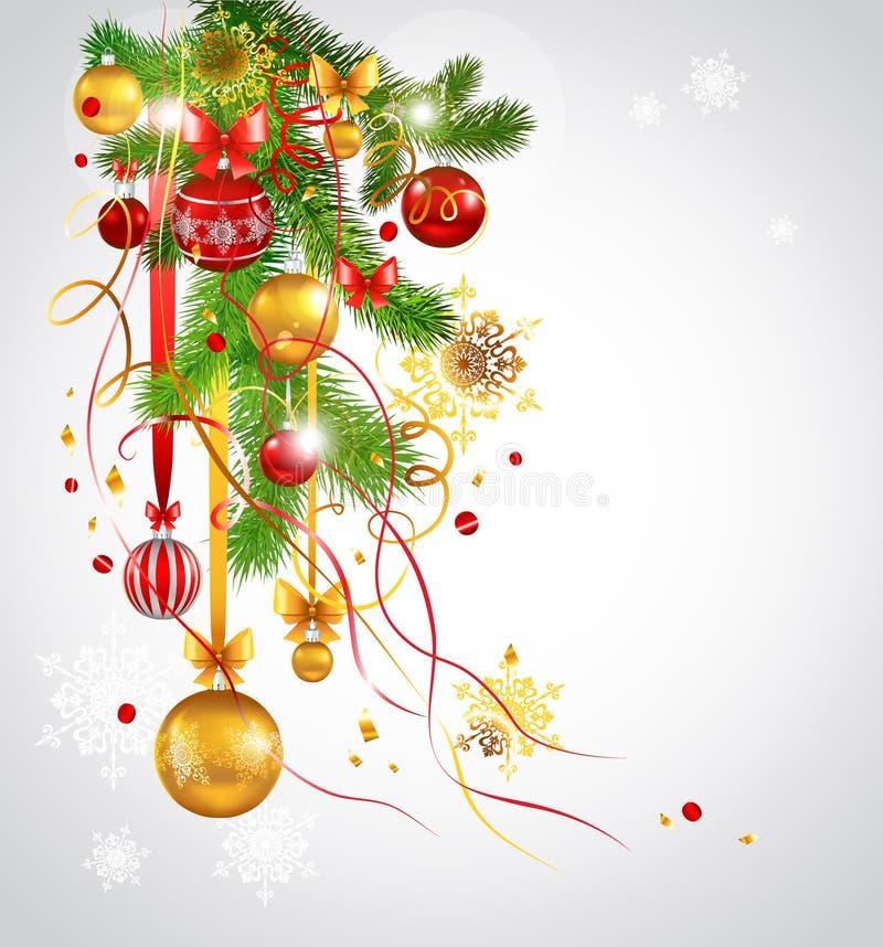 Árvore de abeto decorada bonita do Natal ilustração do vetor