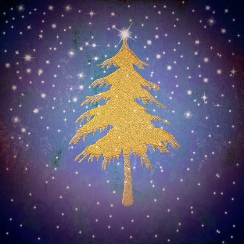 Árvore de abeto do ouro do Natal, céu estrelado ilustração do vetor