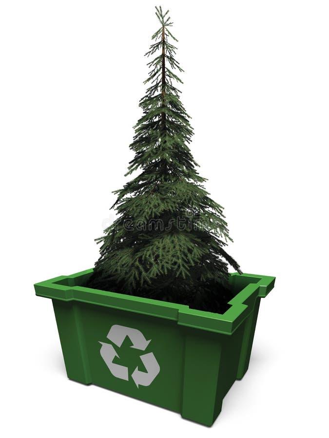 A árvore de abeto recicl dentro o escaninho ilustração royalty free