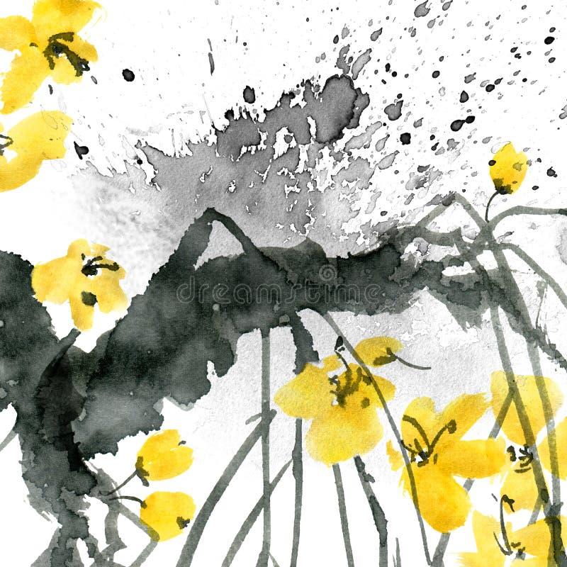Árvore de ameixa da flor ilustração do vetor