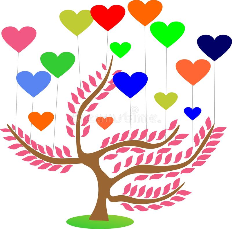 Árvore de amor de sakura da fantasia imagem de stock royalty free