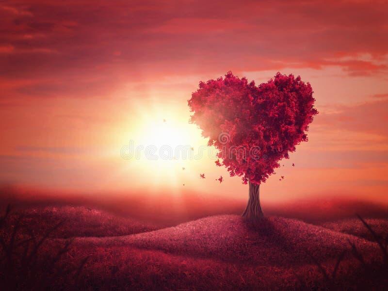 Árvore de amor do coração imagem de stock