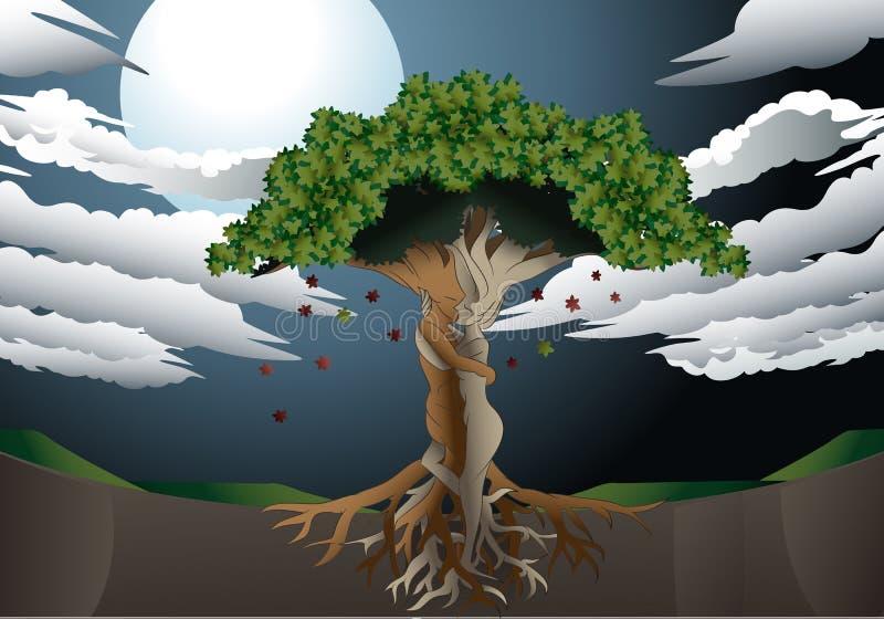 Árvore de amor no fundo da Lua cheia ilustração do vetor