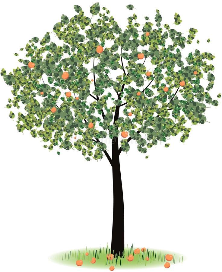 Árvore de Apple com frutos vermelhos maduros na grama verde ilustração do vetor