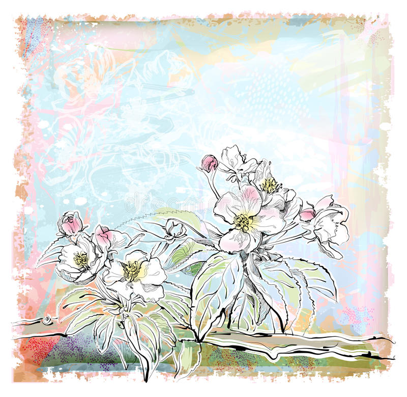 Árvore de Apple na flor ilustração stock