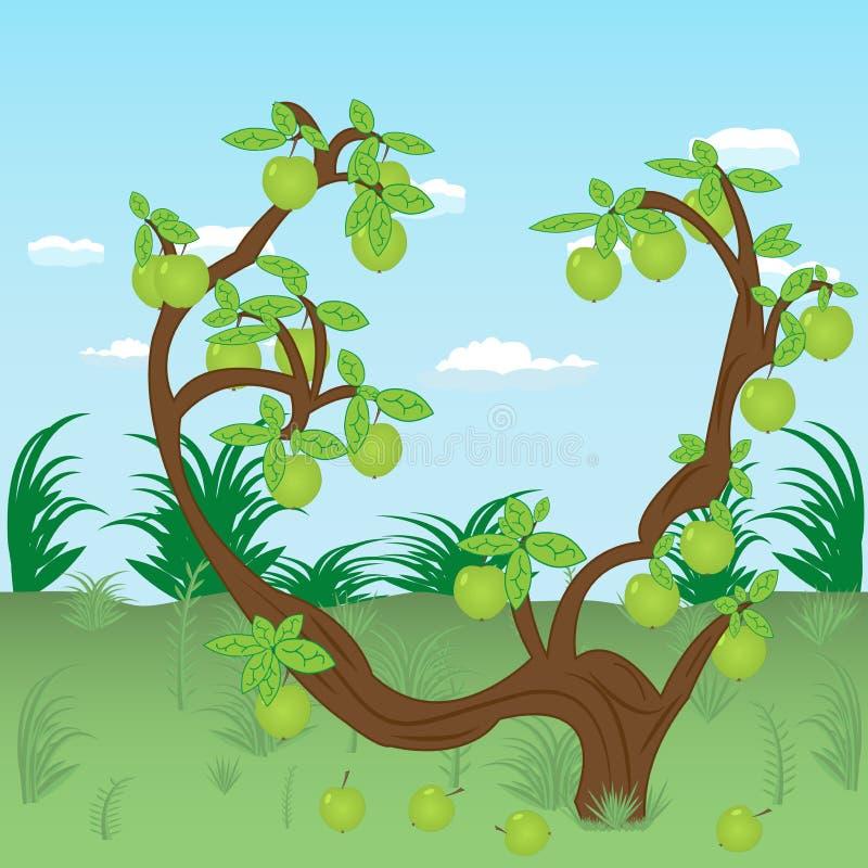 Árvore de Apple no prado ilustração royalty free