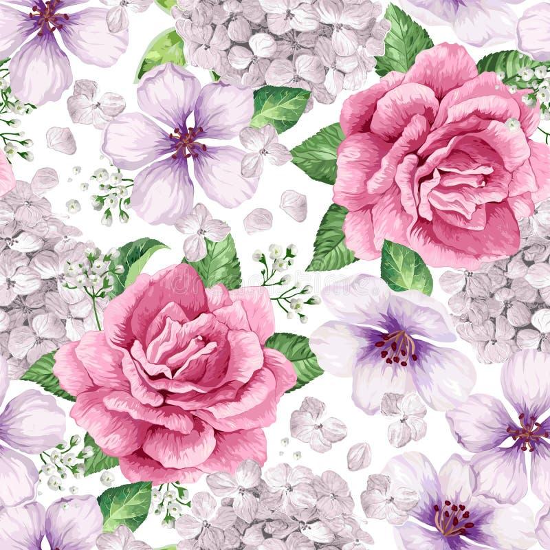 A árvore de Apple, rosas, hortênsia floresce as pétalas e as folhas no estilo da aquarela no fundo branco teste padrão sem emenda ilustração stock