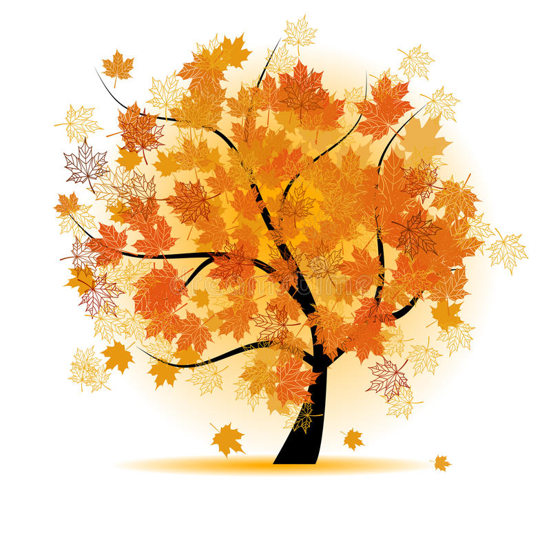 Árvore de bordo, queda da folha do outono ilustração royalty free