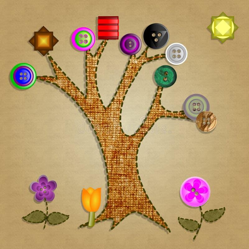 Árvore de botão ilustração royalty free