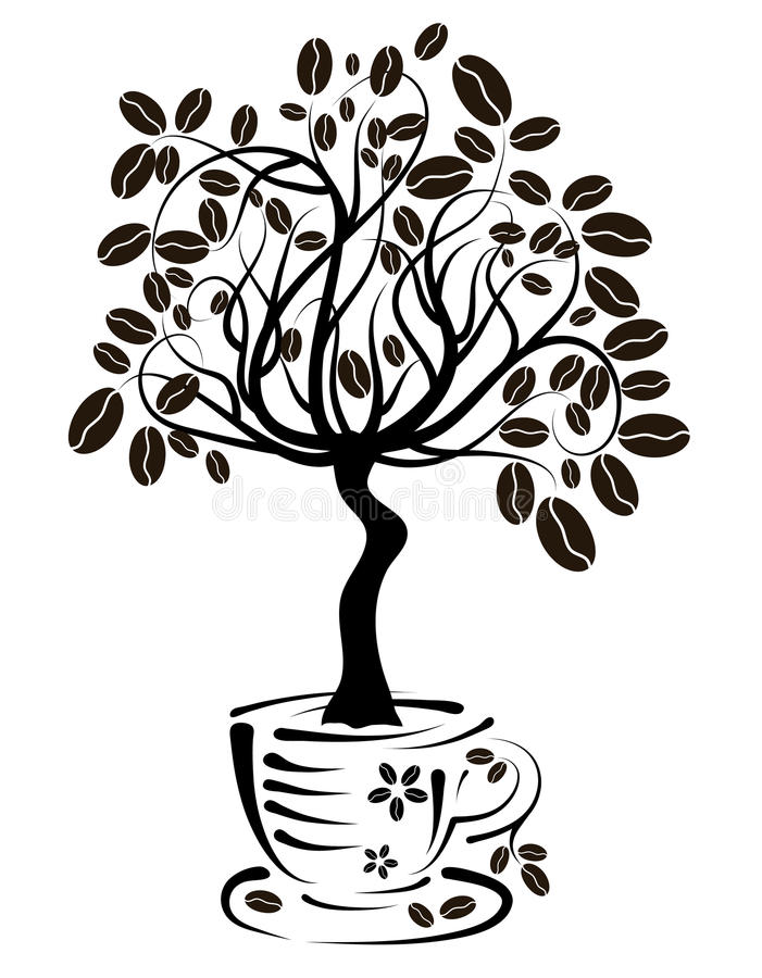 Árvore de café em um copo,   ilustração do vetor