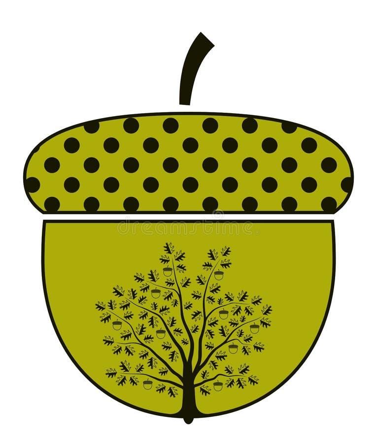 Árvore de carvalho na bolota ilustração stock