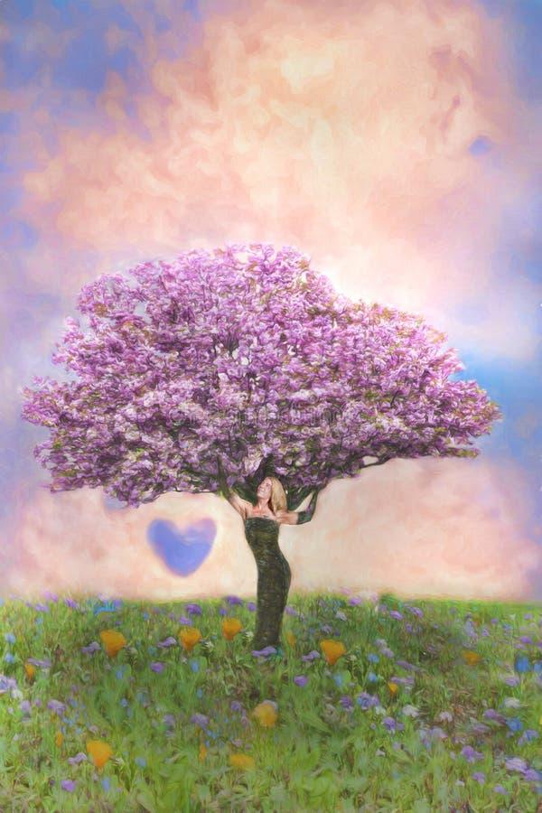 Árvore de cereja fêmea imagens de stock royalty free