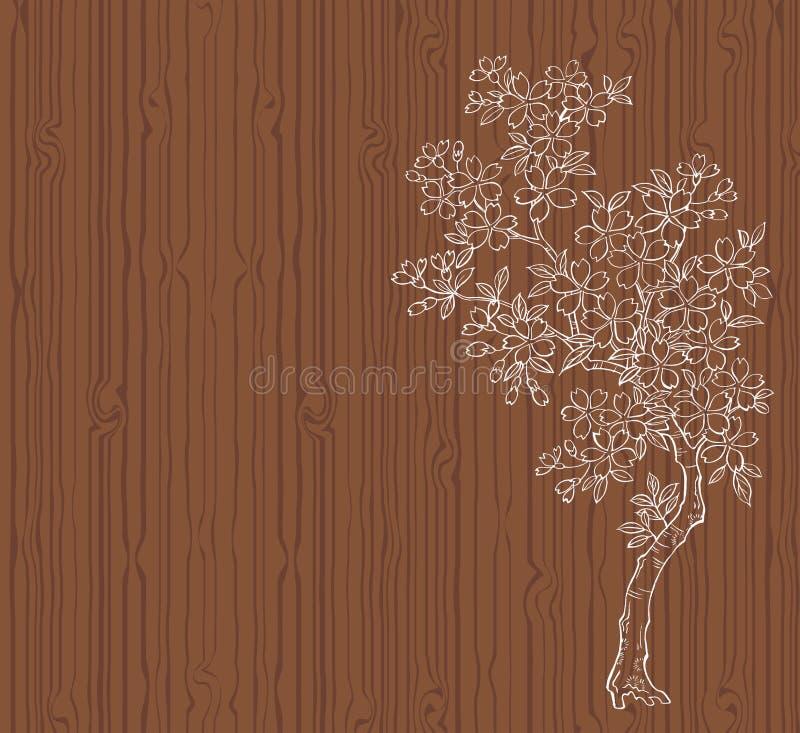 Árvore de cereja na madeira ilustração royalty free