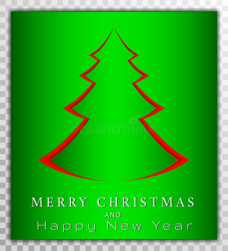 A árvore de Chreestmas do papel cortou o estilo, ilustração do vetor do cartão do dia do xmas no fundo transparente Cartão, carta ilustração do vetor