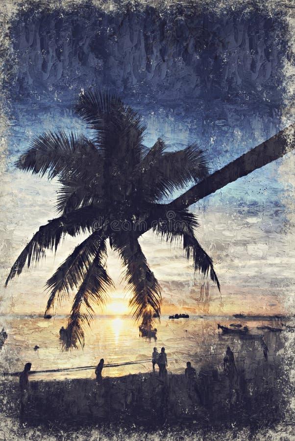 Árvore de coco Koh Tao Sunset Digitas Art Impasto Oil Painting b fotografia de stock royalty free