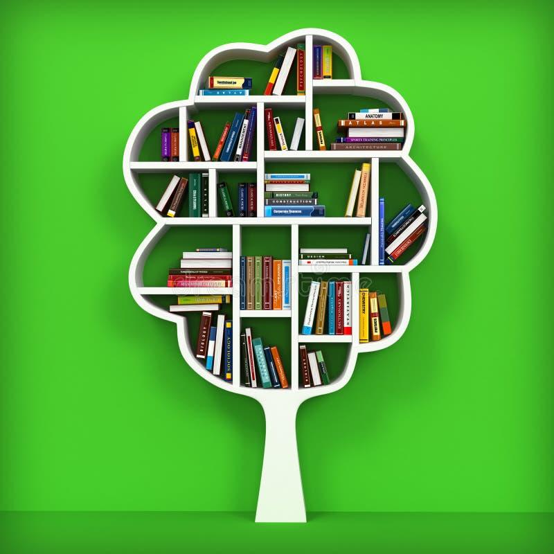 Árvore de conhecimento. Estante no fundo branco. ilustração royalty free