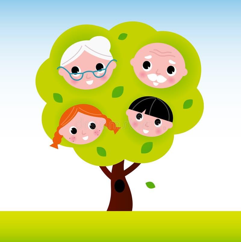 Árvore de família com grandparents e miúdos ilustração stock