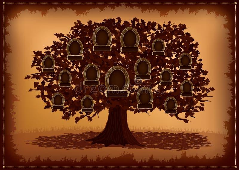 Árvore de família do vetor com frames e folhas. ilustração royalty free