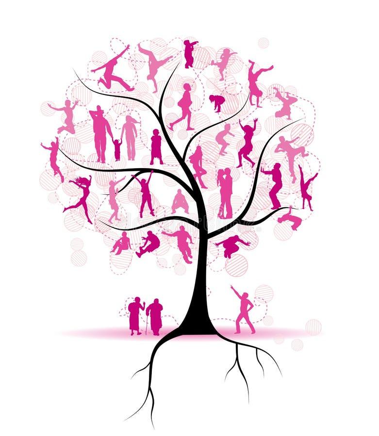 Árvore de família, parentes, silhuetas dos povos ilustração do vetor