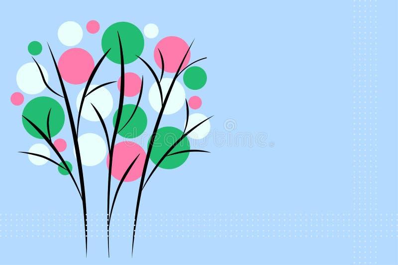 Árvore de florescência bonita no estilo oriental em um fundo azul ilustração stock