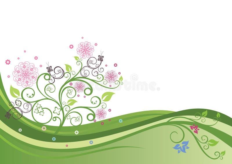 Árvore de florescência em um campo da mola ilustração stock