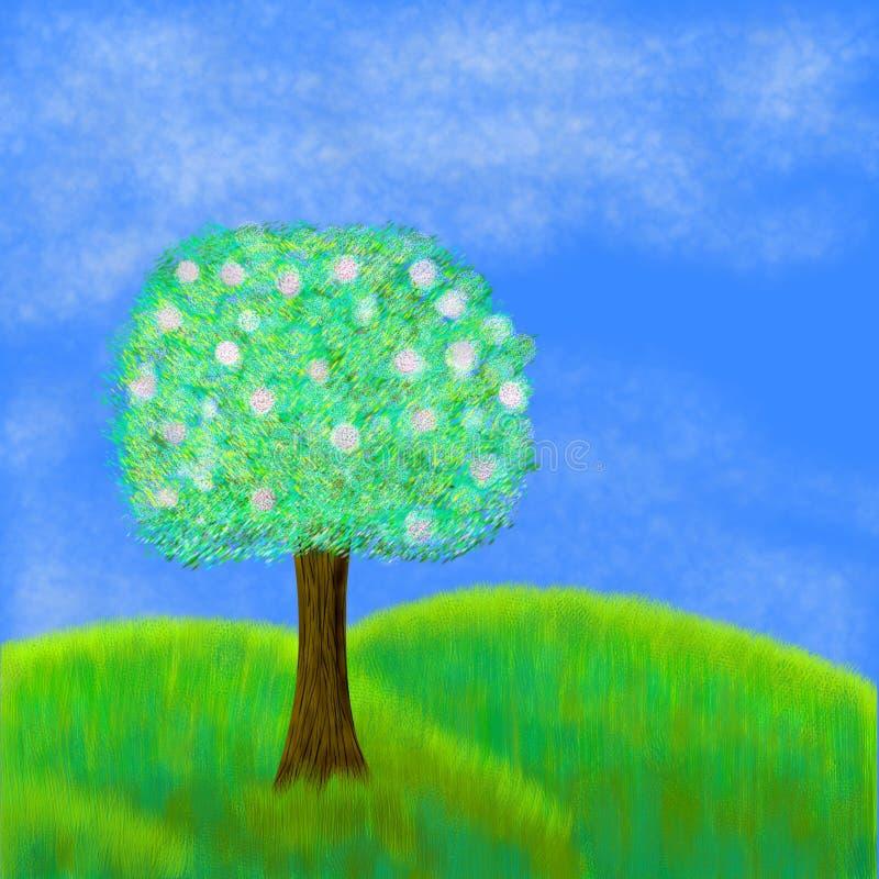 Árvore de florescência no prado ilustração royalty free