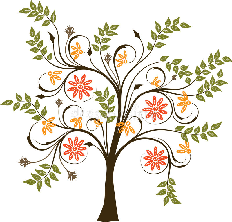 Árvore de florescência, vetor