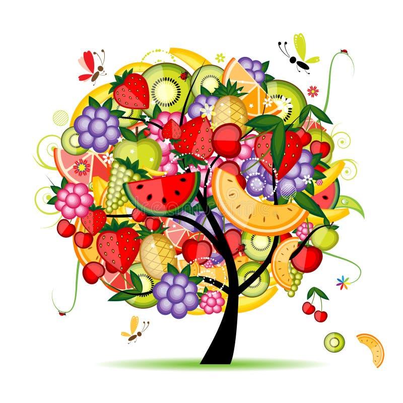 Árvore de fruta da energia para seu projeto ilustração stock