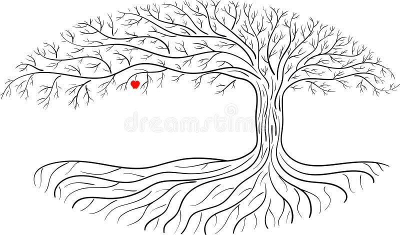 Árvore de maçã de Druidic, silhueta oval, logotipo preto e branco da árvore com a uma maçã vermelha imagem de stock royalty free