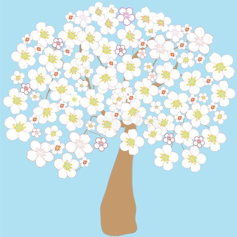 Árvore de maçã de florescência ilustração do vetor