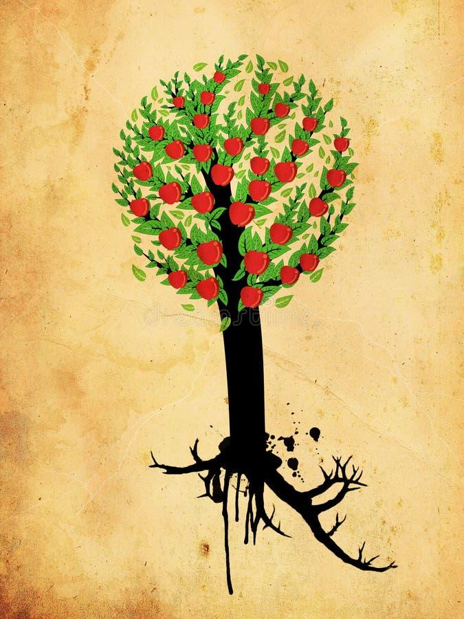 Árvore de maçã do Grunge ilustração do vetor