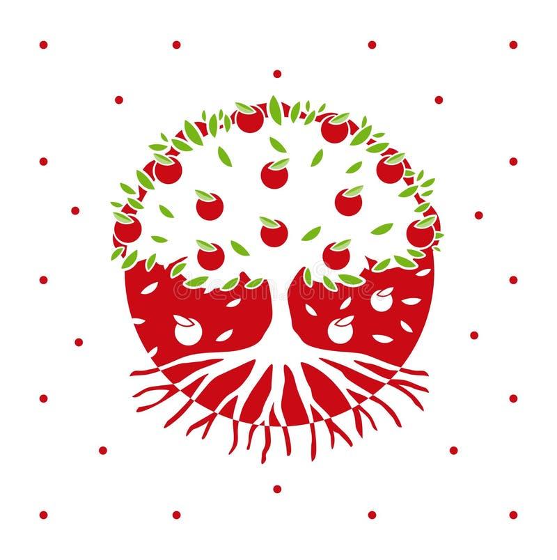 Árvore de maçã do vetor com raizes ilustração do vetor