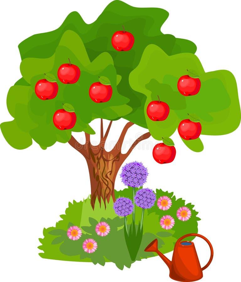 Árvore de maçã dos desenhos animados com coroa verde, frutos vermelhos e grama perto do tronco no fundo branco ilustração do vetor