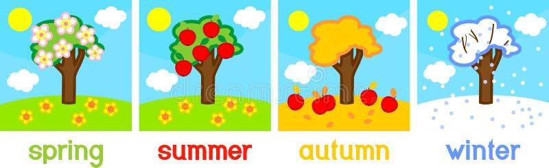 Árvore de maçã de quatro estações ilustração do vetor