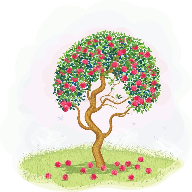 Árvore de maçã vermelha ilustração stock