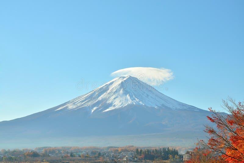 Árvore de Monte Fuji e de bordo vermelho no outono no lago do kawaguchiko imagem de stock