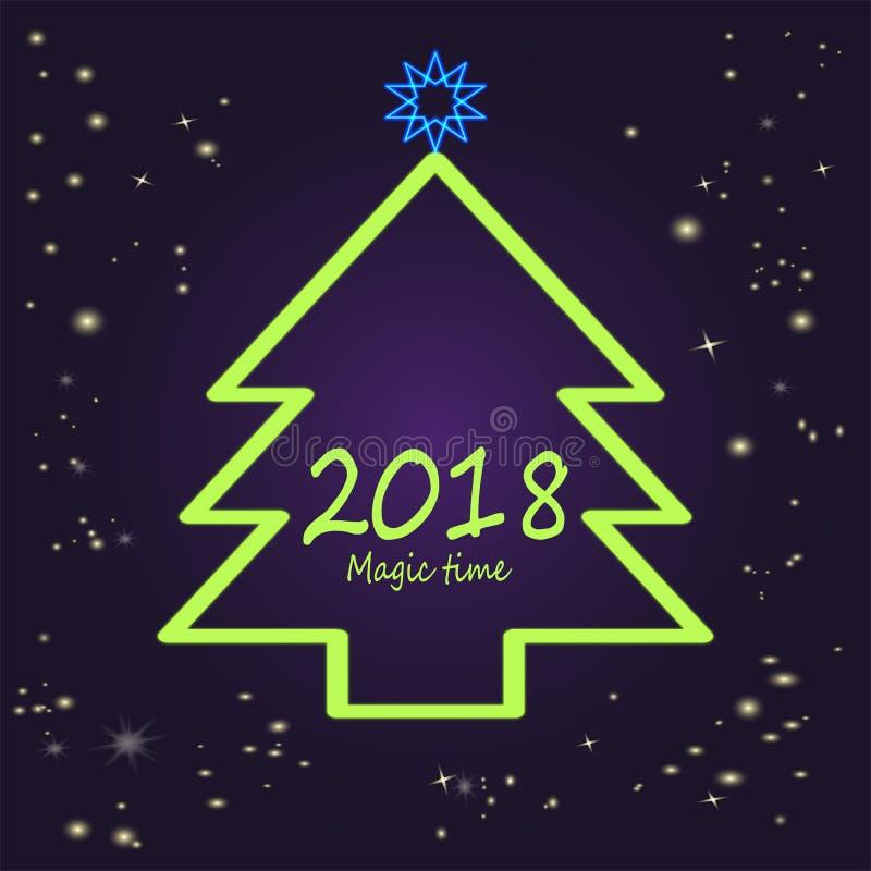 Árvore de néon verde do ano novo - ideia para o cartaz ilustração do vetor
